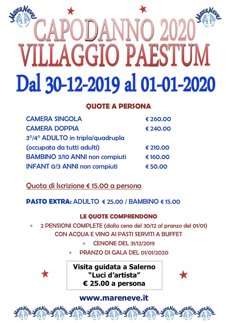 CAPODANNO 2020 AL VILLAGGIO PAESTUM